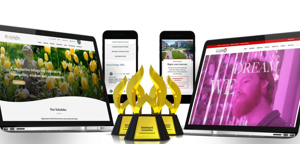 WebAwards trophy with IMS and Clark University website