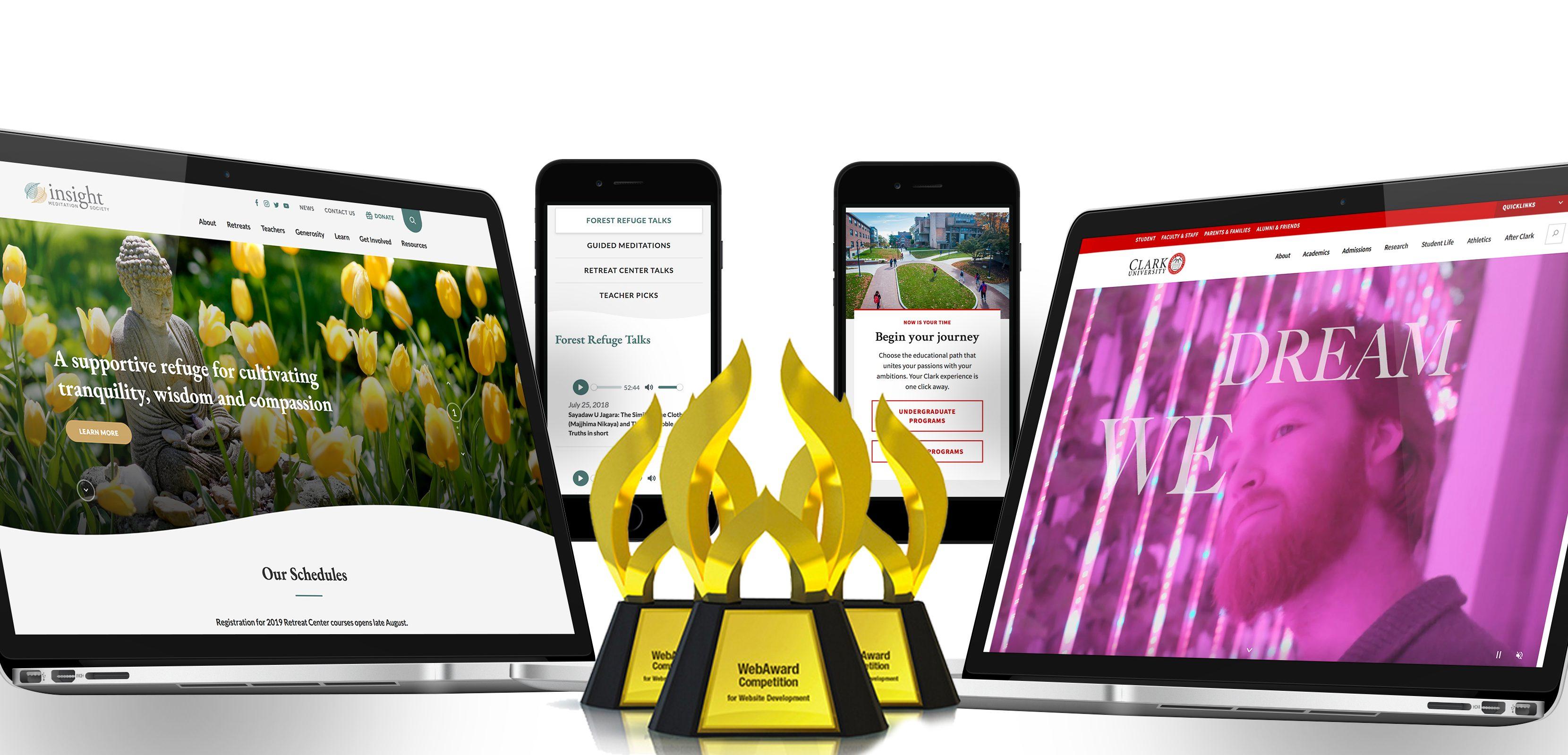 WebAward trophy for Insight Meditation Society and Clark University website designs
