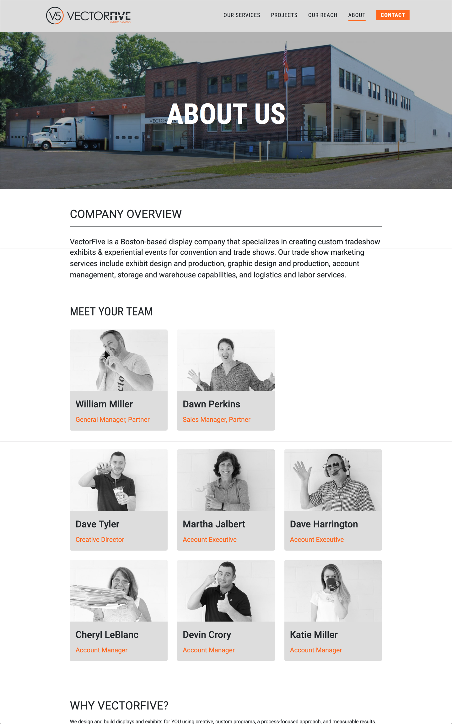 Vector Five About page showcasing team members