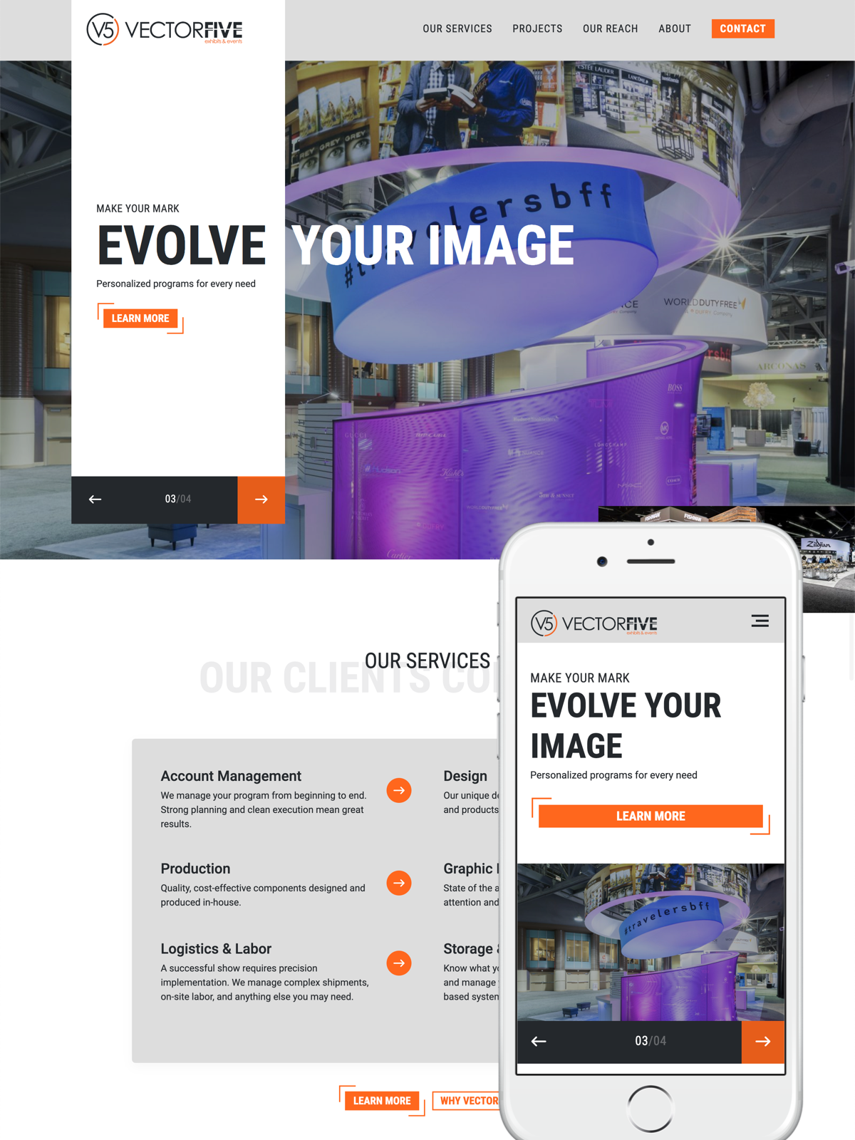 Vector Five homepage design on desktop and mobile