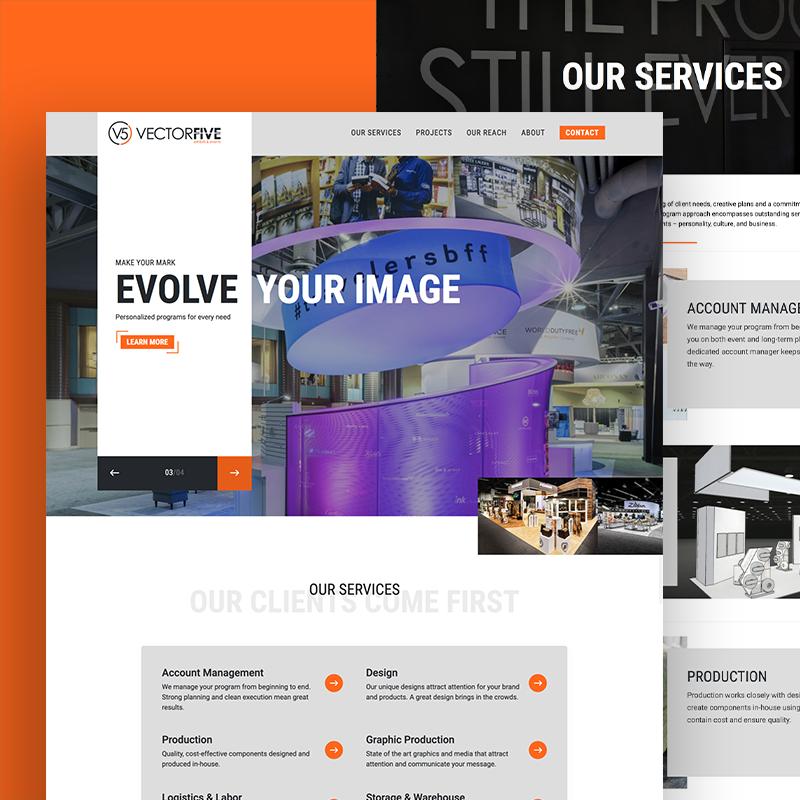 VectorFive website on desktop device