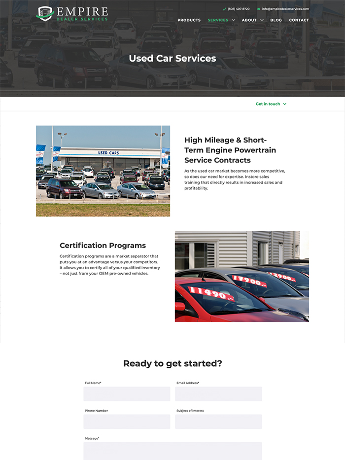 Used and new car dealership services