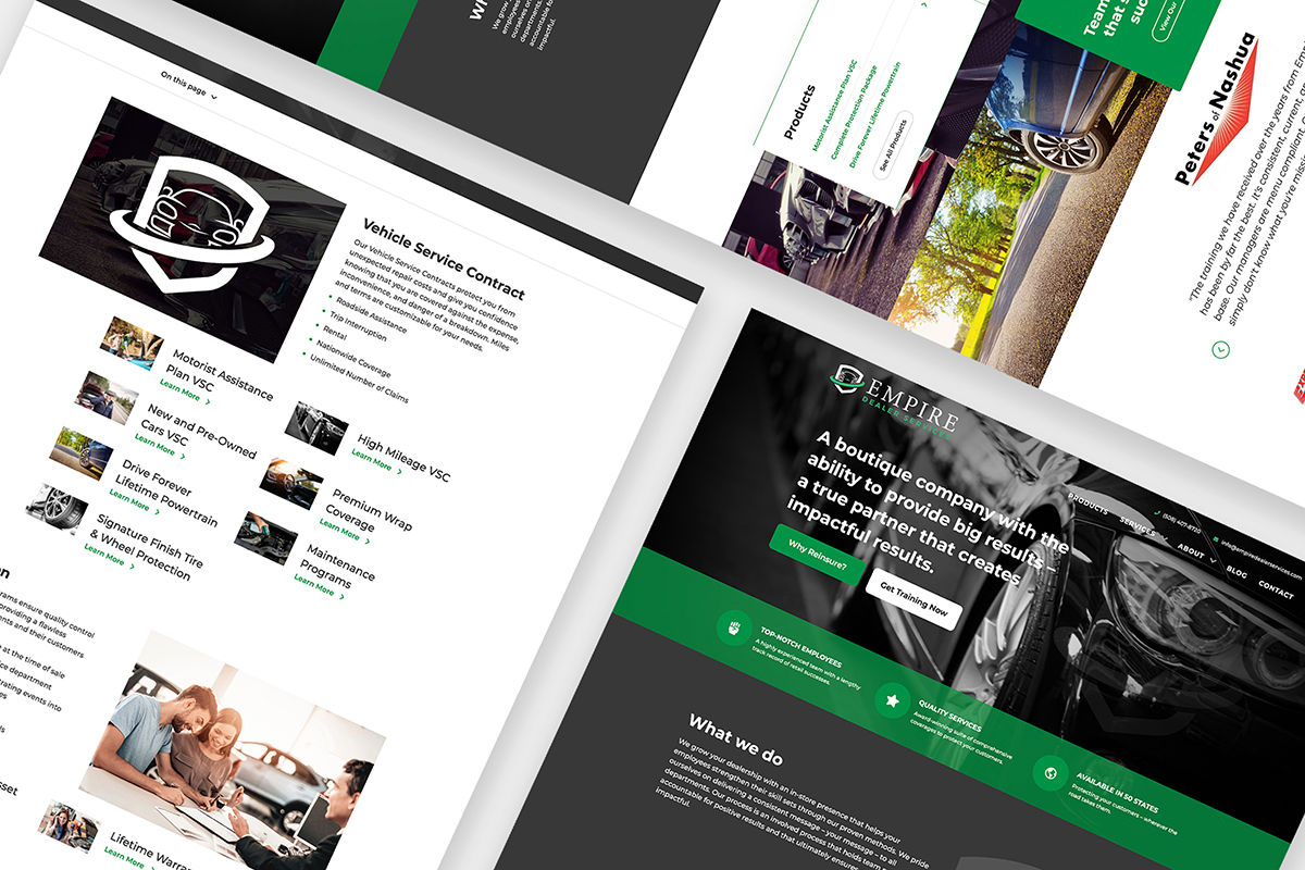 Various web design concepts in a collage format