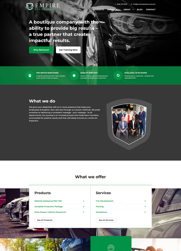 Empire Dealer Services homepage design