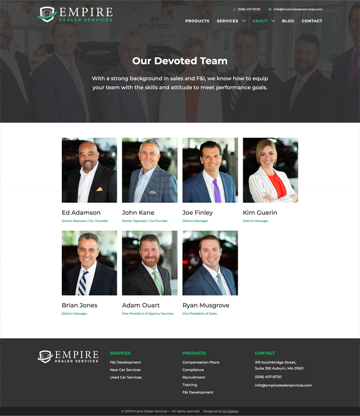 Empire Dealer Services team page layout