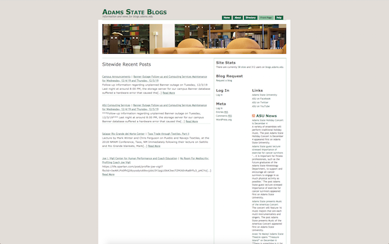 Adams State University blog microsite