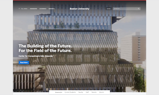 Screenshot of the Boston University website
