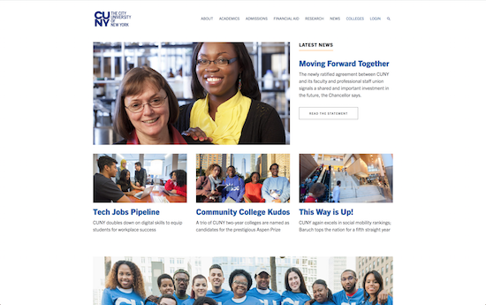 CUNY website homepage