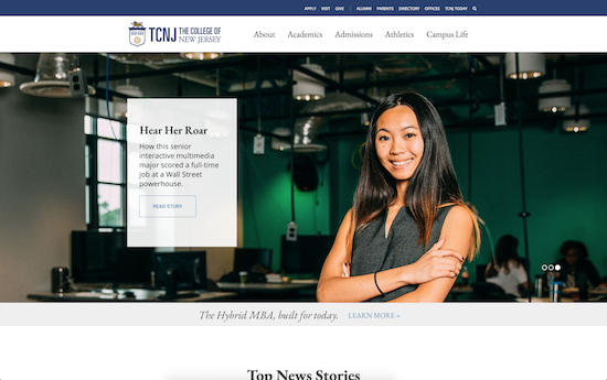 The College of New Jersey website