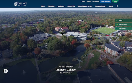 Endicott College website built on WordPress