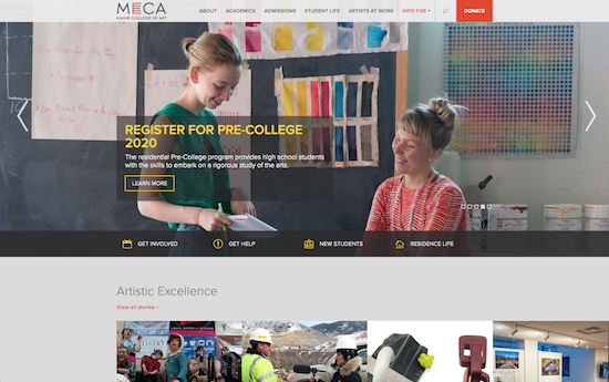 Maine College of Art website – made on WordPress