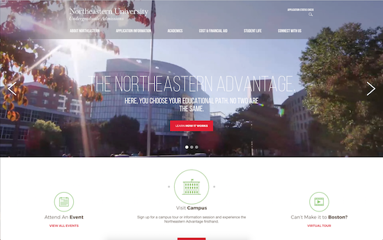 Northeastern website admissions page