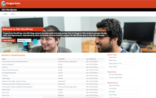 Oregon State University blog microsite