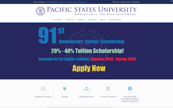 Pacific States University website