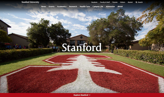 Stanford University website homepage