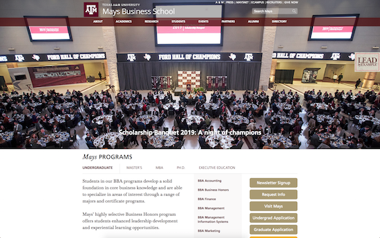 Texas A&M Mays Business School microsite