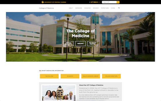 UCF College of Medicine microsite
