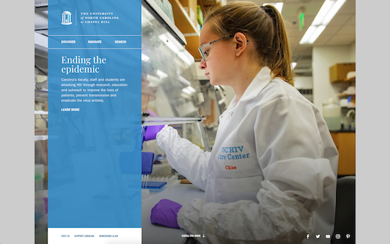 UNC website homepage