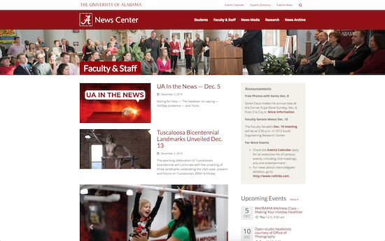 University of Alabama news microsite