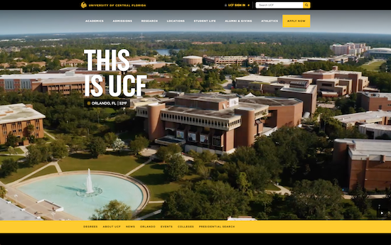 UCF website homepage