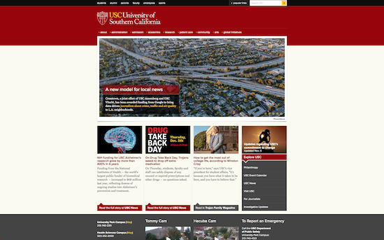 USC website, built on WordPress