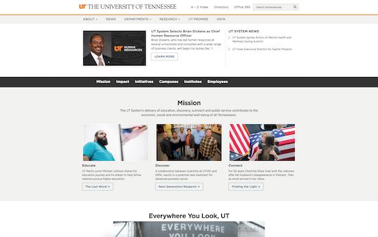 University of Tennessee website