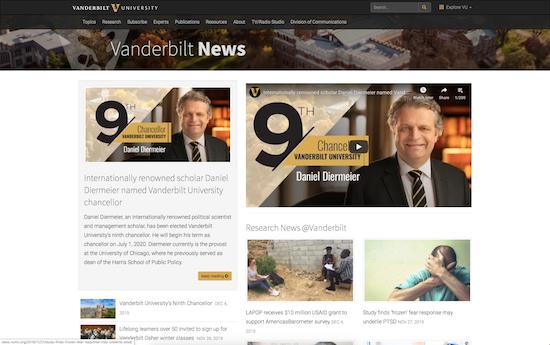 Vanderbilt news microsite