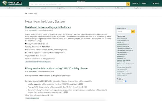 Wayne State University library system microsite