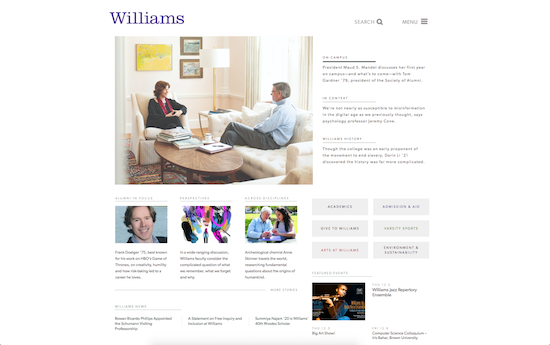 Williams College website homepage