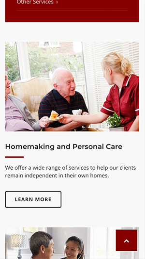 Advantage Homecare Systems website, mobile view