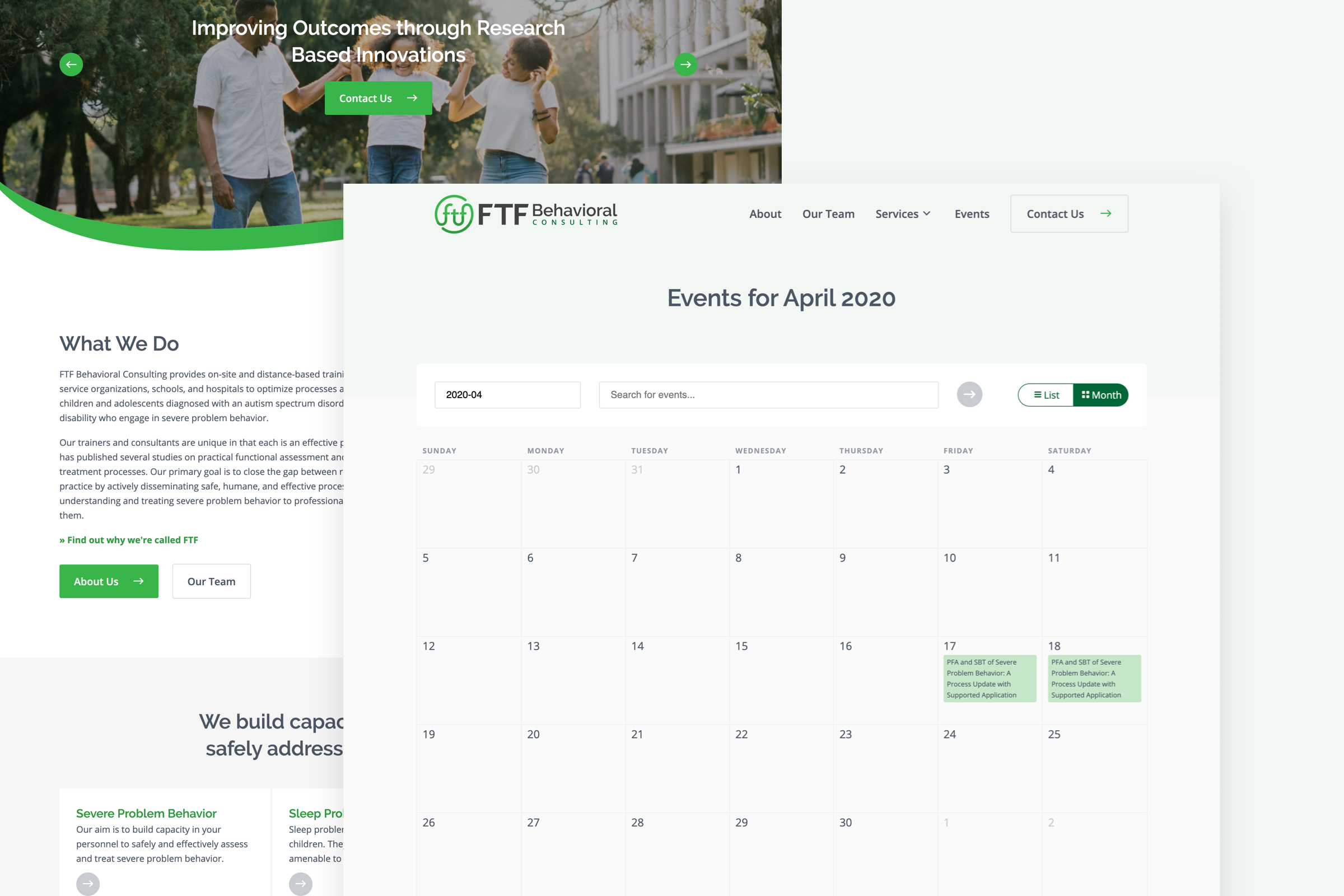 FTF Behavioral About page and events calendar component