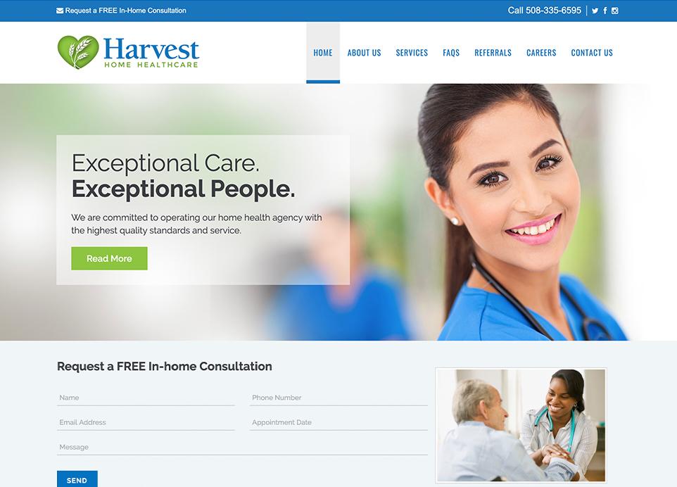 Harvest Home Healthcare website, desktop view