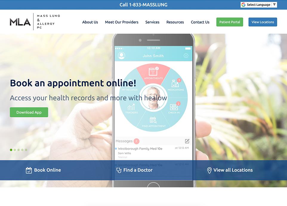 Mass Lung & Allergy website, desktop view