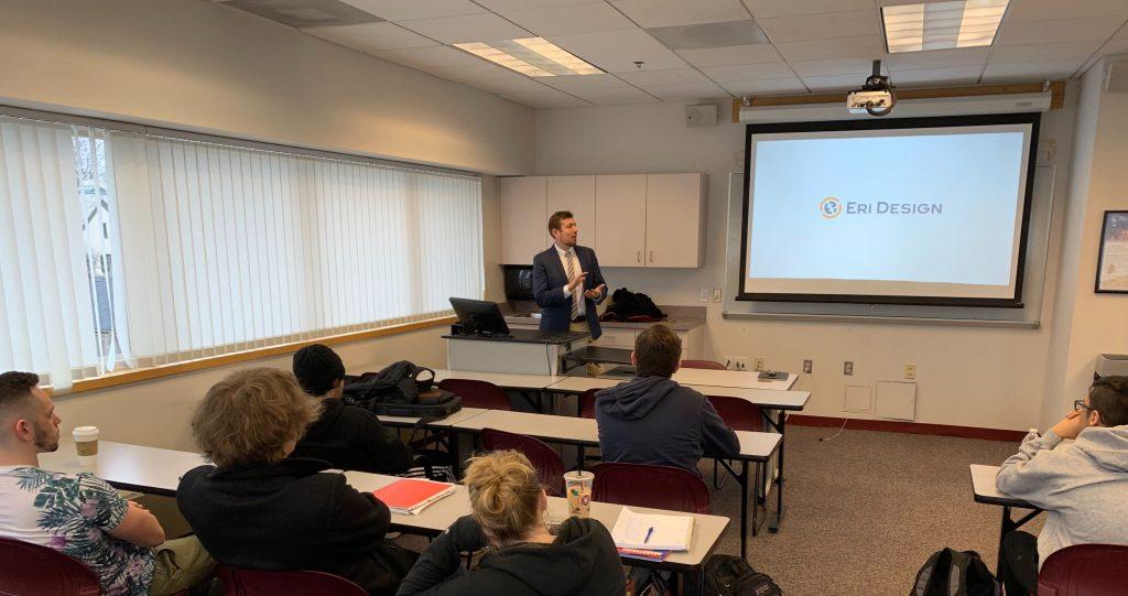 Raffi DerSimonian giving a talk at Becker College in Worcester