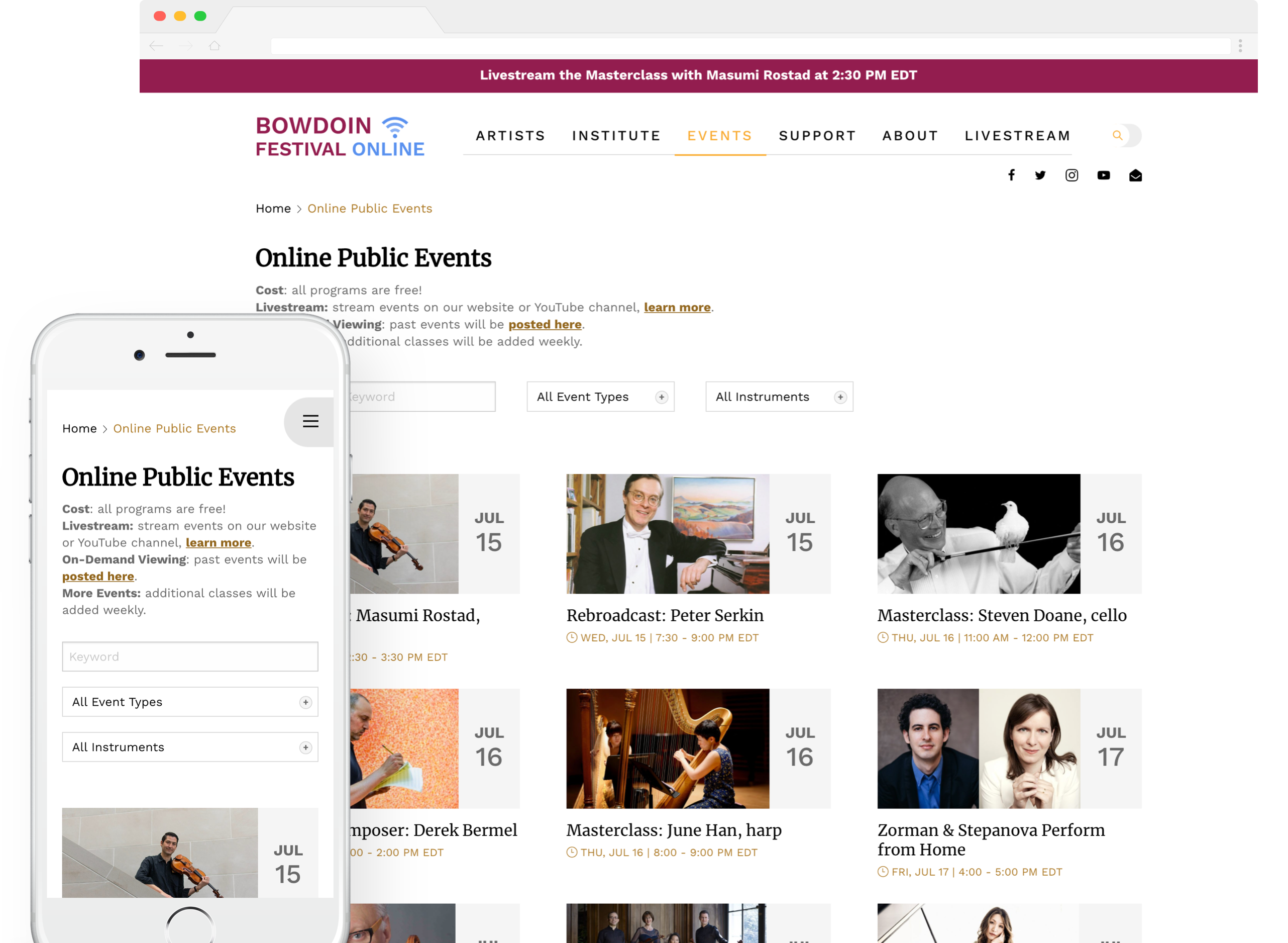 Bowdoin Festival online webpage on both desktop and mobile