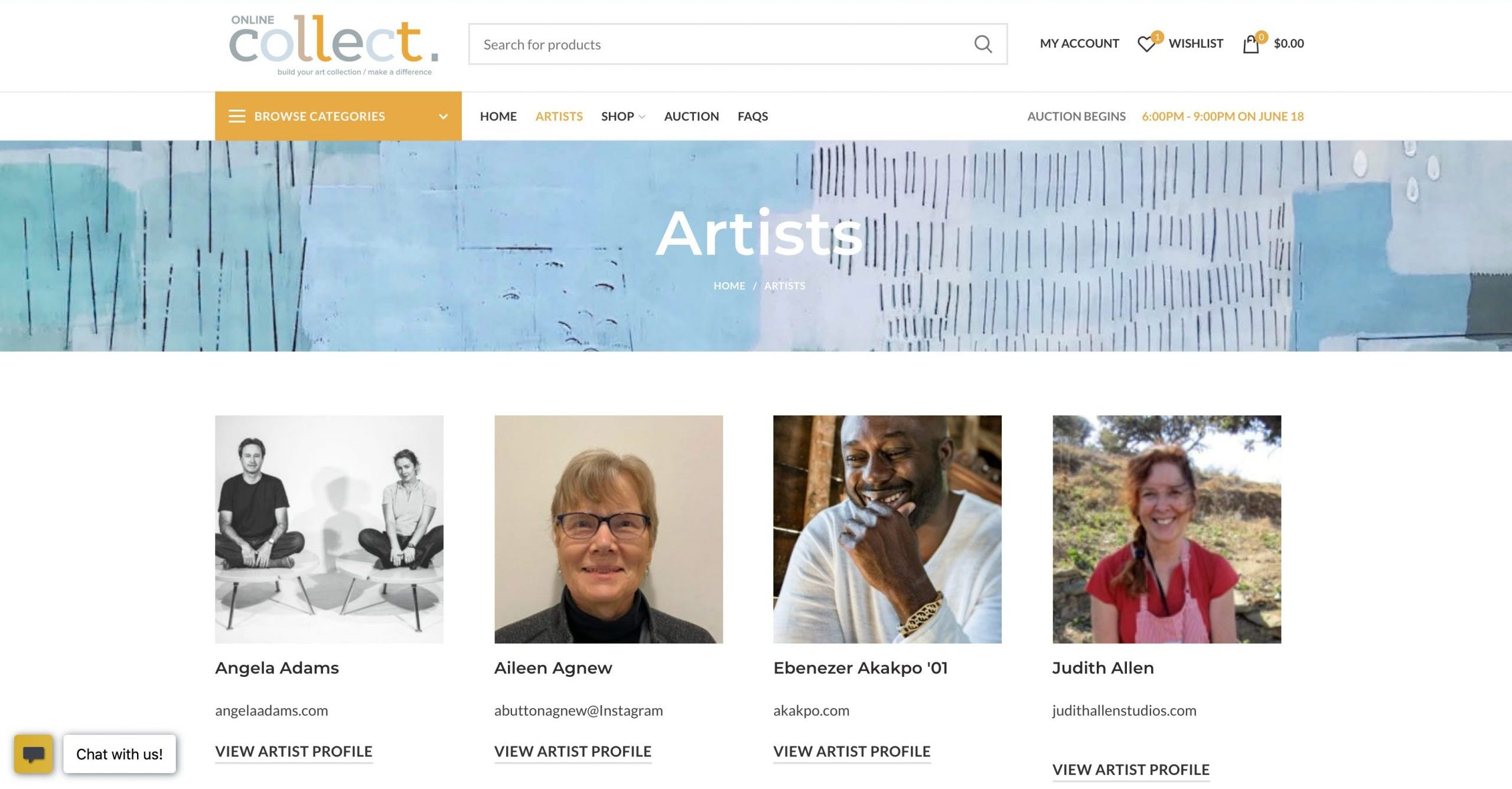 MECA online collect artists page