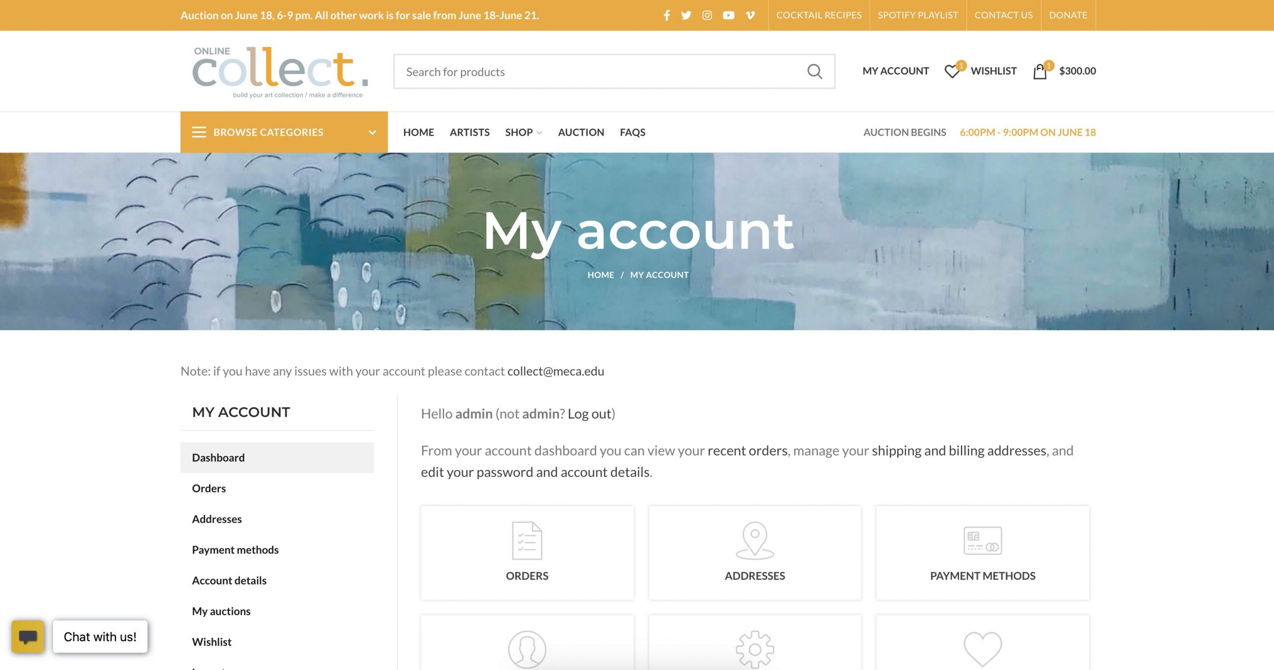 Meca online collect my account page