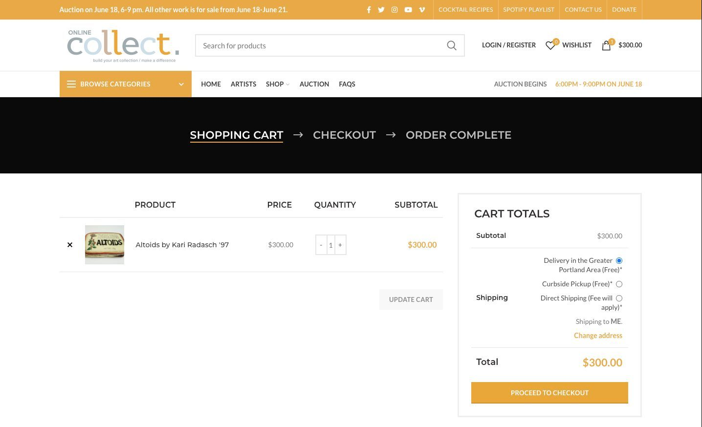 Meca online collect shopping cart