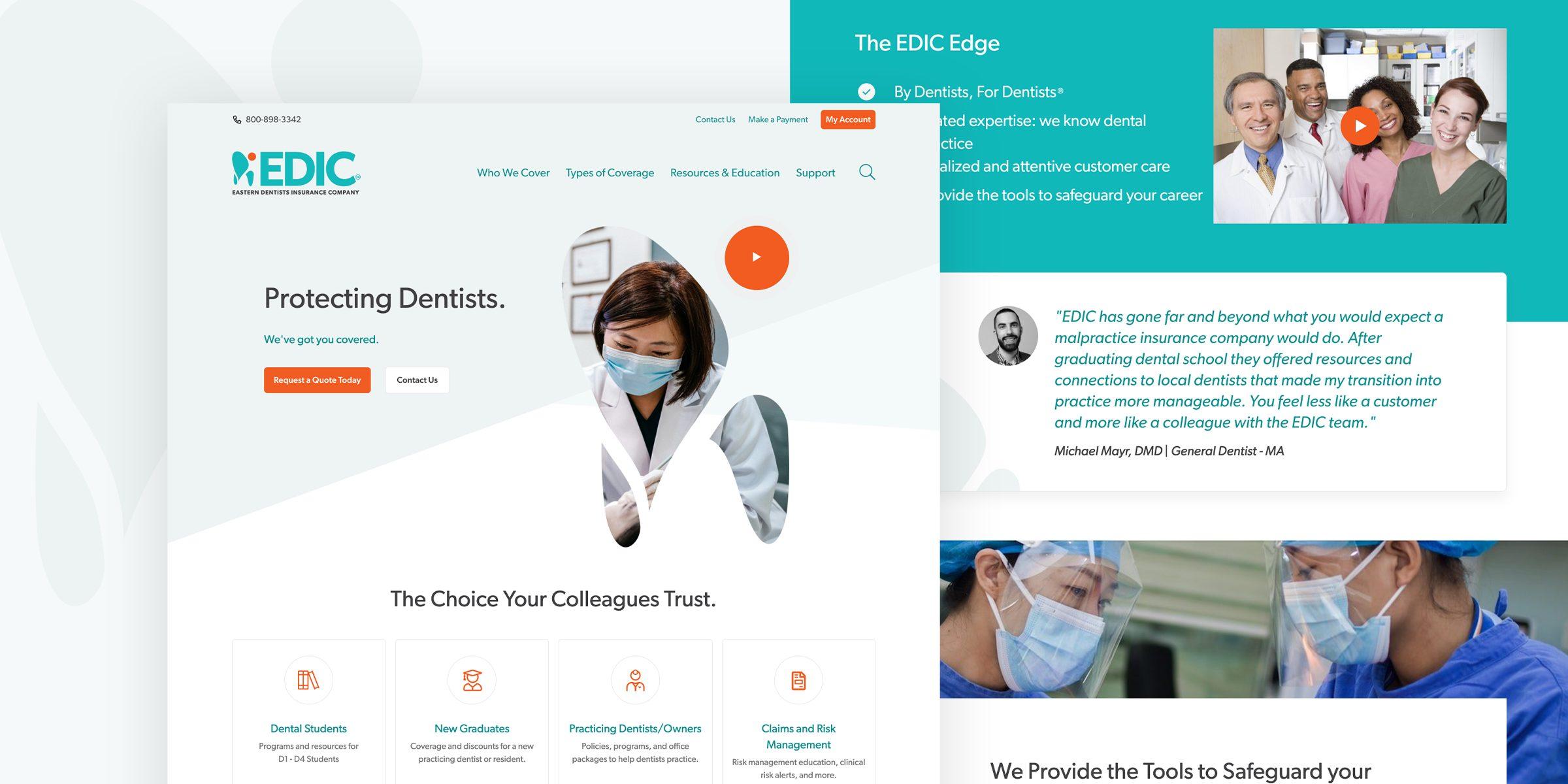 EDIC website desktop screens