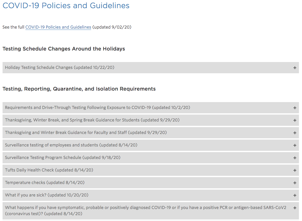 Tufts website crisis messaging policies and guidleines