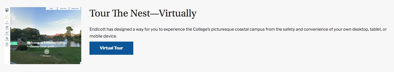 Endicott College Virtual Tours messaging